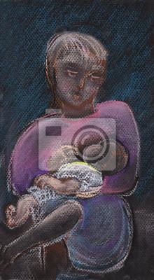 Młoda kobieta z dzieckiem na rękach