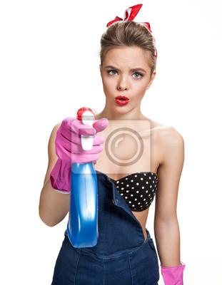 1c0b75299d6320 Obraz Młoda piękna amerykańska pin-up girl. Koncepcja sprzątanie na ...