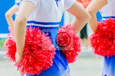 Obraz młodych kobiet cheerleaderki posiadający pomponami podczas zawodów
