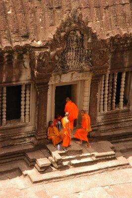 Obraz mnichów i Angkor Wat