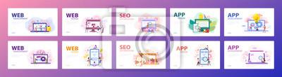 Obraz Mobile app and web development banner concept set.