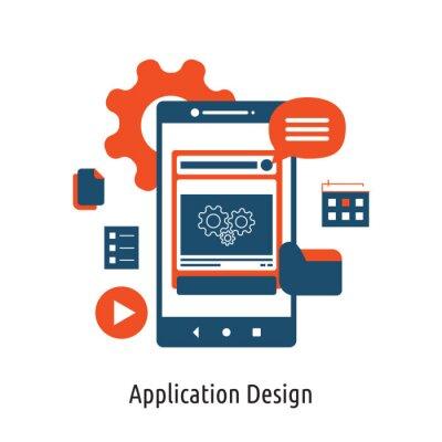 Mobile App development flat concept