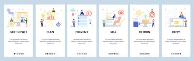 Mobile app onboarding screens. Business and office icons, financial report and presentation, check list. Menu vector banner template for website and mobile development. Web site design illustration