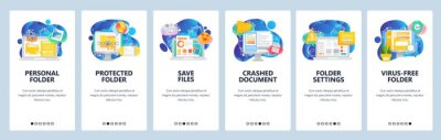 Mobile app onboarding screens. Business computer icons, secure file access, corrupted document, virus search. Vector banner template for website and mobile development. Web site flat illustration