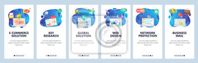 Obraz Mobile app onboarding screens. Business email, office technology, market research report, financial chart. Vector banner template for website and mobile development. Web site design flat illustration
