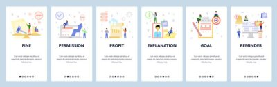 Mobile app onboarding screens. Business icons, profit, employee profile, schedule notification. Menu vector banner template for website and mobile development. Web site design flat illustration