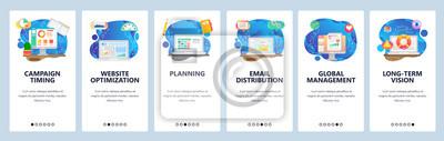 Obraz Mobile app onboarding screens. Business management, planning, page load optimization, finance chart. Menu vector banner template for website and mobile development. Web site design flat illustration