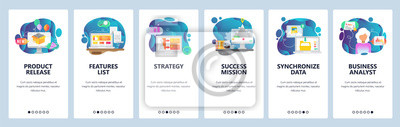 Mobile app onboarding screens. Business strategy, new product release, data sync. Menu vector banner template for website and mobile development. Web site design flat illustration