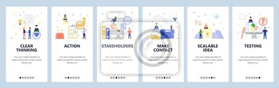 Mobile app onboarding screens. Business strategy, phone and email contact, testing, business deal. Menu vector banner template for website and mobile development. Web site design flat illustration