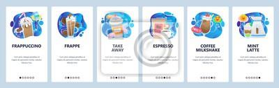 Obraz Mobile app onboarding screens. Coffee drinks, espresso, frappe, cup of coffee take away, cafe menu. Menu vector banner template for website and mobile development. Web site design flat illustration