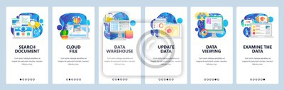Obraz Mobile app onboarding screens. Data science technology, cloud storage, update, search. Menu vector banner template for website and mobile development. Web site design flat illustration