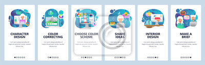 Mobile app onboarding screens. Design and digital photo editing, interior design, share ideas. Menu vector banner template for website and mobile development. Web site illustration