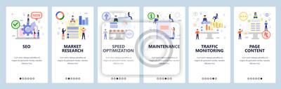 Obraz Mobile app onboarding screens. Digital and seo marketing, speed optimization, traffic monitoring. Menu vector banner template for website and mobile development. Web site design flat illustration