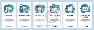 Mobile app onboarding screens. Digital art, drawing and painting, artist, illustration. Menu vector banner template for website and mobile development. Web site design flat illustration