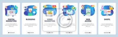 Obraz Mobile app onboarding screens. Digital marketing, blogging, video and email marketing, online shopping. Vector banner template for website and mobile development. Web site design flat illustration