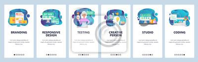 Obraz Mobile app onboarding screens. Digital marketing, branding and design studio, creativity. Menu vector banner template for website and mobile development. Web site design flat illustration