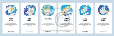 Mobile app onboarding screens. Email business service, virus malware, message. Menu vector banner template for website and mobile development. Web site design flat illustration