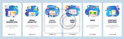 Obraz Mobile app onboarding screens. Email marketing, SMM, business analytics, content control. Menu vector banner template for website and mobile development. Web site design flat illustration