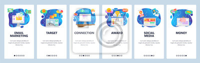 Obraz Mobile app onboarding screens. Email marketing, social media, business leader. Menu vector banner template for website and mobile development. Web site design flat illustration