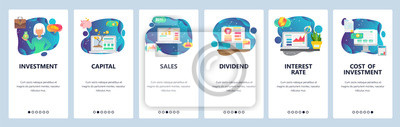 Mobile app onboarding screens. Finance business icons, money investment, sales and capital, interest rate. Vector banner template for website and mobile development. Web site design flat illustration