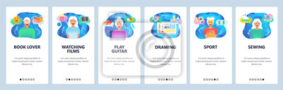 Obraz Mobile app onboarding screens. Leisure activities, hobby, readng books, watching movies, drawing. Menu vector banner template for website and mobile development. Web site design flat illustration