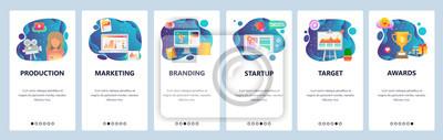 Mobile app onboarding screens. Marketing, branding, video production, startup. Menu vector banner template for website and mobile development. Web site design flat illustration