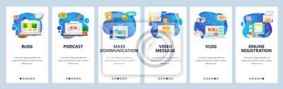 Obraz Mobile app onboarding screens. Online blog and vlog, video streaming, podcast and tv news. Menu vector banner template for website and mobile development. Web site design flat illustration