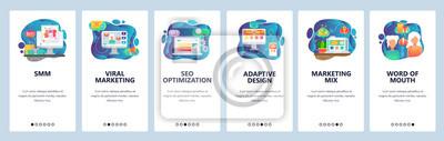 Mobile app onboarding screens. Online digital marketing, SMM, SEO, viral marketing. Menu vector banner template for website and mobile development. Web site design flat illustration