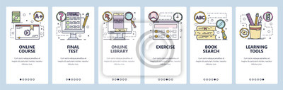 Mobile app onboarding screens. Online education, courses, school, book library. Menu vector banner template for website and mobile development. Web site design flat illustration