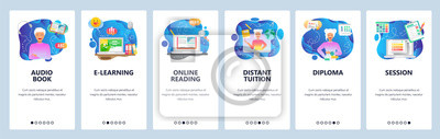 Obraz Mobile app onboarding screens. Online education, digital library, audio book, distant tutor, online reading. Vector banner template for website and mobile development. Web site design illustration