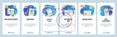 Obraz Mobile app onboarding screens. Online sales, advertisement, promotion timer, gift card. Menu vector banner template for website and mobile development. Web site design flat illustration