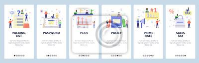 Obraz Mobile app onboarding screens. Online shopping, business plan, login password. Menu vector banner template for website and mobile development. Web site design flat illustration