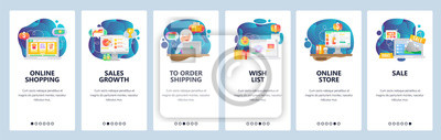Mobile app onboarding screens. Online shopping, financial chart, wish list, online store, order payment and delivery. Vector banner template for website mobile development. Web site flat illustration