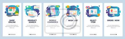 Obraz Mobile app onboarding screens. Online shopping, internet store, mobile ecommerce. Menu vector banner template for website and mobile development. Web site design flat illustration