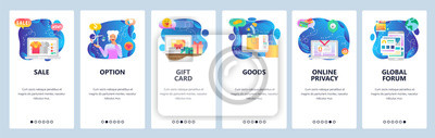 Obraz Mobile app onboarding screens. Online shopping, sale and promotion, gift card, buy on internet. Menu vector banner template for website and mobile development. Web site design flat illustration