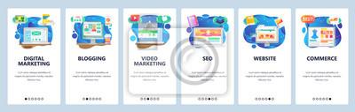 Obraz Mobile app onboarding screens. Online shopping, seo and digital marketing, video blogging. Menu vector banner template for website and mobile development. Web site design flat illustration