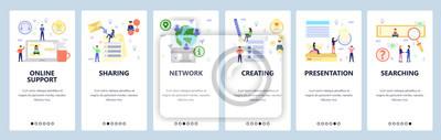 Obraz Mobile app onboarding screens. Online support, presentation, search and global network. Menu vector banner template for website and mobile development. Web site design flat illustration