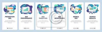 Obraz Mobile app onboarding screens. SEO optimization and digital internet marketing. Menu vector banner template for website and mobile development. Web site design flat illustration.