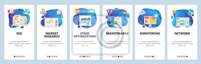 Obraz Mobile app onboarding screens. SEO, speed optimization and digital marketing. market research. Menu vector banner template for website and mobile development. Web site design flat illustration