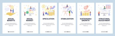 Mobile app onboarding screens. Social benefit and welfare, business charts and presentation, financial growth. Vector banner template for website and mobile development. Web site design illustration