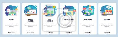 Mobile app onboarding screens. Software and web development, coding, 404 error, chat bot assistant. Menu vector banner template for website and mobile development. Web site design flat illustration