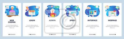 Obraz Mobile app onboarding screens. Software engineer coding, interface loading speed optimization. Menu vector banner template for website and mobile development. Web site design flat illustration