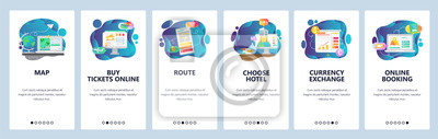 Obraz Mobile app onboarding screens. Travel services, planing vacation trip, online booking hotel and flight. Menu vector banner template for website and mobile development. Web site design illustration