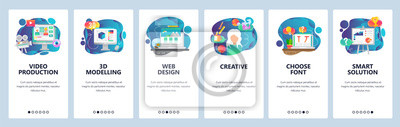 Obraz Mobile app onboarding screens. Video production, 3d modelling, creative web design. Menu vector banner template for website and mobile development. Web site design flat illustration