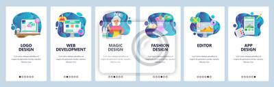 Mobile app onboarding screens. Web development, fashion design, mobile photo editing. Menu vector banner template for website and mobile development. Web site design flat illustration