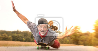 Obraz Moc radości na deskorolce uszczęśliwiona