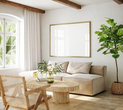 Obraz Mockup frame in living room interior of Spanish villa, 3d render