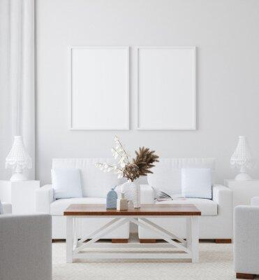 Obraz Mockup poster in white home interior background, 3d render