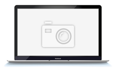 Obraz mockup with blank screen - front view.Open laptop with blank screen isolated on transparent background