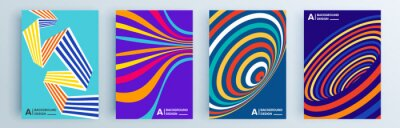 Obraz Modern abstract covers set, minimal covers design. Colorful geometric background, vector illustration.